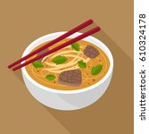 asian noodle soup vector... | Shutterstock .eps vector #610324178