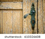 part of old wooden door with... | Shutterstock . vector #610326608