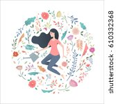 young woman in a circle of... | Shutterstock .eps vector #610332368