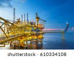 offshore oil and gas rig...   Shutterstock . vector #610334108