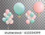 bunches of helium balloons... | Shutterstock .eps vector #610334399