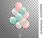 bunch of balloons isolated. set ... | Shutterstock .eps vector #610343960