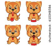 cute cartoon dogs set. children ... | Shutterstock .eps vector #610348586