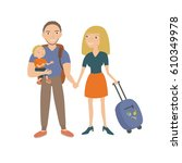 family travel. parents and... | Shutterstock .eps vector #610349978