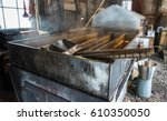steam rising off of boiler... | Shutterstock . vector #610350050