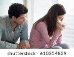 sad upset girl crying  wiping... | Shutterstock . vector #610354829