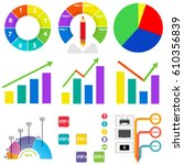 a set of graphs and diagrams.... | Shutterstock .eps vector #610356839