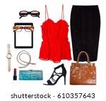 still life of business clothing ... | Shutterstock . vector #610357643