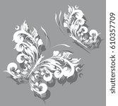 white  butterfly  swirl ... | Shutterstock . vector #610357709