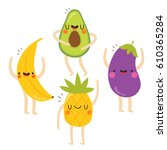 set of cute vegetables and... | Shutterstock .eps vector #610365284
