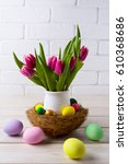easter table centerpiece with ... | Shutterstock . vector #610368686