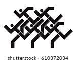 fitness runners logo. black... | Shutterstock .eps vector #610372034