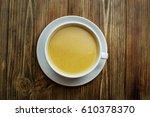 red lentil soup on wooden... | Shutterstock . vector #610378370