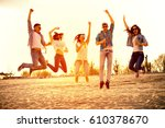 happy young people having fun... | Shutterstock . vector #610378670