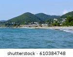 the beach in golovinka ... | Shutterstock . vector #610384748