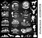 hiking club badges with design... | Shutterstock .eps vector #610384928