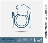 line icon. chef hat silhouette... | Shutterstock .eps vector #610386614