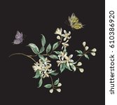 embroidery trend floral pattern ... | Shutterstock .eps vector #610386920