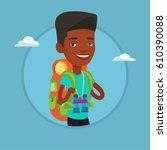 african american traveler... | Shutterstock .eps vector #610390088