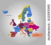 map of europe. vector... | Shutterstock .eps vector #610395590