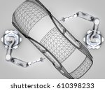 3d rendering  two robotic arms... | Shutterstock . vector #610398233