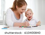 mother with the baby son with... | Shutterstock . vector #610400840