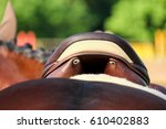 close up of horse saddle on the ... | Shutterstock . vector #610402883