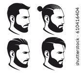 set of bearded men hipsters... | Shutterstock .eps vector #610416404