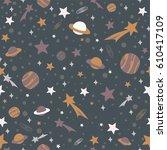 space flat pattern  vector...   Shutterstock .eps vector #610417109