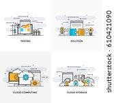 modern flat color line designed ... | Shutterstock .eps vector #610421090