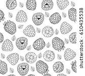 vector pattern of raspberry.... | Shutterstock .eps vector #610435538