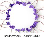 Blue Viola Flowers Frame On...