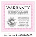 pink warranty certificate...   Shutterstock .eps vector #610442420