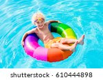 happy little boy playing with... | Shutterstock . vector #610444898
