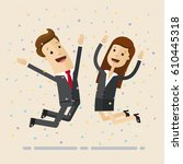 businessman and woman jump with ... | Shutterstock .eps vector #610445318