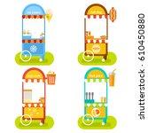 set of mobile food stalls. ice...   Shutterstock .eps vector #610450880