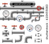 black pipe set constructor... | Shutterstock .eps vector #610455083