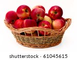 Red apples in the basket - stock photo