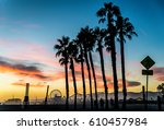 santa monica pier at sunset ... | Shutterstock . vector #610457984