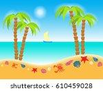 illustration cartoon seashore... | Shutterstock . vector #610459028