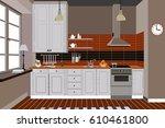 kitchen interior background... | Shutterstock .eps vector #610461800