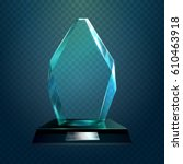 transparent glassware trophy ... | Shutterstock .eps vector #610463918