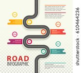 road top view infographics with ... | Shutterstock .eps vector #610464236