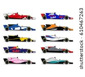 race car set. formula one... | Shutterstock .eps vector #610467263