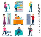 people in shop set with... | Shutterstock .eps vector #610484873