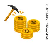 golden stack of bitcoins and... | Shutterstock .eps vector #610486010