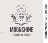 vintage moonshine label design...   Shutterstock .eps vector #610486400