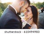 the lovely couple in love ... | Shutterstock . vector #610494983