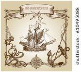 adventure stories. pirate... | Shutterstock .eps vector #610495088