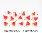 watermelon pattern. sliced... | Shutterstock . vector #610495484